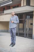 Handsome hipster modern man — Stock Photo