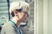 Blonde short hair hipster woman — Stock Photo