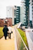 Niewyraźne sceny miejskie miasto i ludzie — Zdjęcie stockowe