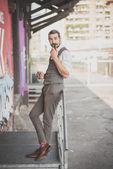 Handsome big moustache hipster man — 图库照片