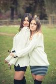 Beautiful in girls autumn — Stock Photo