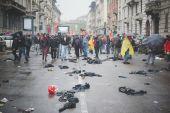 Manifestation no expo held in Milan May 1, 2015 — Stock Photo