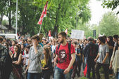 Students manifestation   Milan on May — Stock Photo