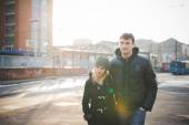 Young lovers couple in city — Stock Photo