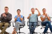 Executives applauding and cheering office — Foto Stock