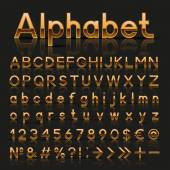 Decorative golden alphabet — Stock Vector