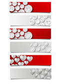 Set of abstract banners with hearts — Stock Vector