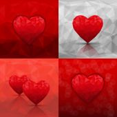 Set of abstract backgrounds with hearts in modern triangle style — Stock Vector