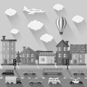 City landscape. Flat design. Vector illustration. — Stock Vector