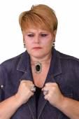 Mature Woman Body Language - Frustrated — Stock Photo