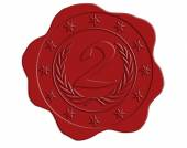 Second Place Red Wax Seal — Stock Photo