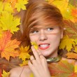 Fashion style happy fall woman lying autumn forest leaves  — Stock Photo #55713809