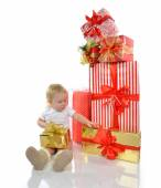 Christmas new year concept. infant child baby toddler kid prepar — Stock Photo