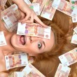 Woman lying down with many cash money five thousand russian rubl — Stok fotoğraf #61740423