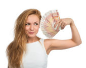 Woman holding up many cash money five thousand russian rubles no — Stock Photo
