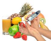 Diabetes diabetic concept. Measuring glucose level blood test — Stock Photo