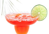 Red Margarita cocktail with mint and lime slice in chilled salt  — Stock Photo