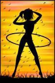 上フラフープの練習をしている細い女性のシルエット — ストックベクタ