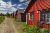 Beautiful red cottage houses. Norway — Stock Photo