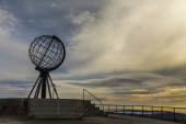 Globe monument at Nordkapp, the northern point of Europe — Stock Photo