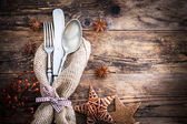 Old knife, spoon and fork decoratively presented. — Stock Photo