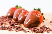 Ripe strawberries dipped in chocolate. — Stock Photo
