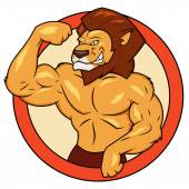 Muscular lion is posing — Stockvector