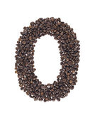 Symbol of number zero made of coffee beans isolated on white background — Stock Photo