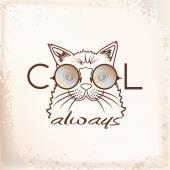 Funny muzzle cat in sunglasses closeup — Stock Vector