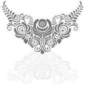 Marco floral vector elegante recargado en estilo gzhel — Vector de stock