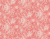Red floral textile vector seamless pattern in gzhel style — Stock Vector