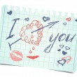 Note with text and hearts I love you. Vector valentines card — Stock Vector #62793389