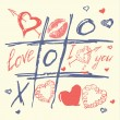 Hand drawn love and heart vector,valentines day Tic Tac Toe Hearts — Stock Vector #62847009