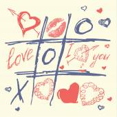 Hand drawn love and heart vector,valentines day Tic Tac Toe Hearts — Stock Vector