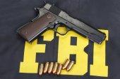 M1911 handgun with ammo — Stok fotoğraf