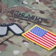 Us army camouflaged uniform with US flag patch and blank dog tags — Stock Photo #54192827