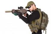 Mercenary with m4 rifle — Stock Photo
