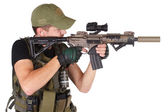 Mercenary with m4 rifle — Stock Photo