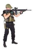 Mercenary with m16 rifle — Stock Photo