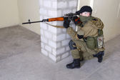 Insurgent sniper with SVD rifle — Stock Photo
