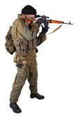 Mercenary sniper with SVD rifle — Stock Photo