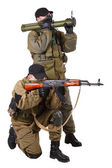 Mercenaries with AK 47 and rocket launcher — Stock Photo