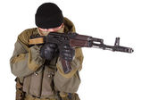 Mercenary with kalashnikov rifle — Stock Photo