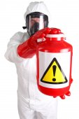 Man in suit of chemical protection — Stock Photo