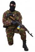 Oekraïense burgerwacht met kalashnikov geweer — Stockfoto