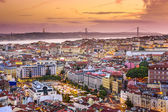 Lisbon, Portugal Skyline at Night — Stock Photo