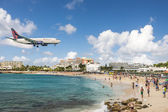 Maho Beach on Sint Maarten — Stock Photo