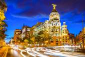 Madrid Spain at Gran Via — Stock Photo