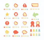 Flat Style Stickers Set — Stock Vector