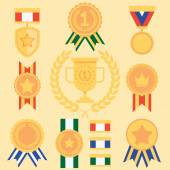 Flat Style Success Icons Medals Set — Stock Vector